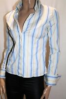 SATCH Brand Blue Striped Cuff Links Long Sleeve Shirt Size 8 LIKE NEW #AN02