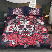 3D Rose Skull 5 Bed Pillowcases Quilt Duvet Cover Set Single Queen King AU Carly