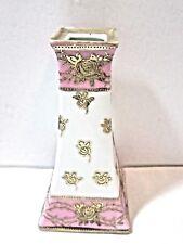 Nippon Porcelain Hat Pin Holder Vintage Pretty Floral Pink And Gold