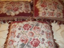 3 Handmade Large Needlepoint Pillows Floral Roses Burgundy Victorian Shabby Chic
