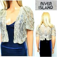 NEW RIVER ISLAND WOMEN`S BOLERO COVER SIZE 10 IVORY LACE SHORT OPEN FRONT #46