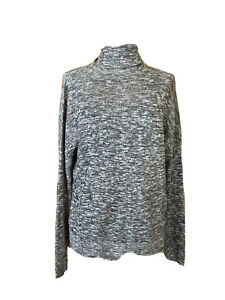 MOTH Anthropologie Turtleneck Sweater SPACE DYED Small Black/White