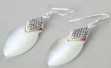 Pretty 925 Sterling Silver Jewelry Natural White Opals Cat Eye Gemstone Earrings