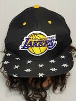 Los Angeles Lakers Mitchell & Ness Fitted Logo NBA Cap Hat Black Yellow _c7