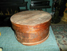 Antique NEW YORK Primitive Round Wood Cheese Box W/ Lid