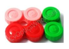 3x Contact Lens Soaking Storage Case Red/Pink/Green