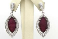 Judith Ripka Silver Marquise African Ruby Diamonique Estate Dangle Earrings 17G