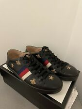 Authentic WOMENS  Gucci Ace Black Leather Sneakers With Bees And Stars, Size 38