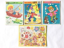 Lot Of 4 Vintage Frame Tray Puzzles Bugs Bunny Juggling Clown Fishing