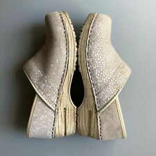 Sanita pearl beige Galuchat faux stingray leather upper rubber sole comfort clog