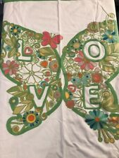 """POTTERY BARN Teens Embroidered Butterfly LOVE Wall Tapestry Decor 40x40"""""""