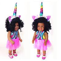 18inch Vinyl African Doll Lifelike Newborn Baby Doll with Unicorn Head Band