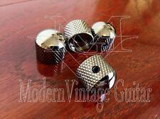 4  Modern Vintage Guitar Machined Metal Black Nickel  Dome Top  Knurled Knobs
