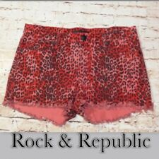 Rock & Republic Red & Black Animal Print Shorts Size 14