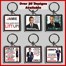 Personalised Suit Key Ring - With Name - 4cm Square Keyring Chain, Gift, LITT UP