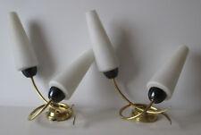2 Appliques opaline et laiton année 50 60 arlus lunel stilnovo
