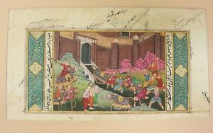 Indo Persian Gouache Gilt Miniature Painting 19th Century