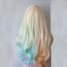 Netgo Pastel Rainbow Wig Long Wavy Colorful Lolita Wig for Halloween Costume