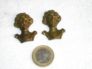 2 CURIEUX BRONZES D'AMEUBLEMENT ANCIENS HOMME/FEMME