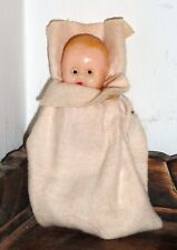 Vintage Plastic Celluloid Baby Doll w Original Blanket So Sweet!