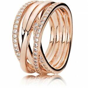 Pandora Entwining Rose Gold Ring / Rose Entwined Sparkling Ring Size 52