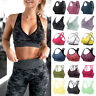 Women Yoga Bras Seamless High Impact Padded Sports Bras Crisscross Strappy Tops