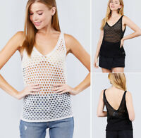 S-L Women's Semi Sheer Open Knit Sweater Tunic Tank Top Layer Sleeveless V-Neck