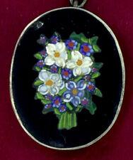 Antico micro mosaico Ciondolo Nero francese Jet Silver Frame Adorabili fiori 1890