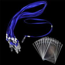 10× Vertical Transparent Business ID Badge Card Holder & Blue Lanyard Neck Strap