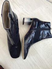 Señoras Zara Azul Patente Tacón Alto Botas al Tobillo (talla EU 40)