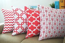 Coral Red Set of 4 Howarmer® Canvas Cotton Decorative Coral Color Throw Pillows