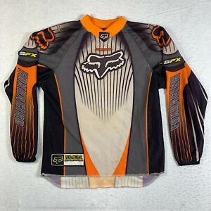 Fox Racing Jersey Youth Kids Large Black Orange Logo Motocross Supercross BMX