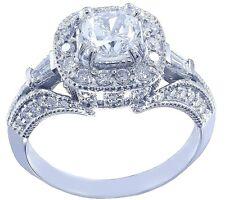 18k White Gold Cushion Cut Diamond Engagement Ring Antique Halo Pave Deco 1.50ct