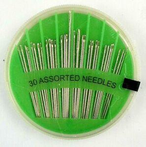 30 Nähnadeln gemischt Runddose 70 mm Grün