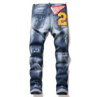 Pies delgados Dsquared2 pantalones con insignia nuevos pantalones hombres jeans