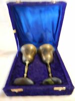 Set of 2 Vintage Brass Etched Wine Glasses in Velvet Case from India