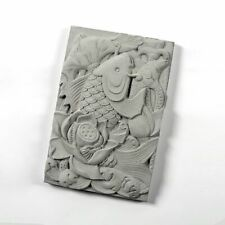 Japan Style Koi Carved Tile Mold Fish Decorated Rectangle Stone Silicone Mould