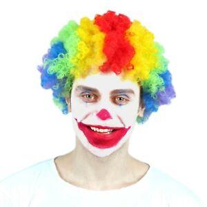 Short Curly Rainbow Clown Wig - Adult Halloween Costume Accessory #7197
