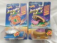 2x Hot Wheels Attack Pack Alien Invaders Vehicle - Mattel 1993 Moc sealed Ovp