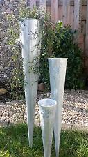 Pflanztüte Tüte Füllhorn 3erSet H=100+75+50cm Metall Zink Optik Garten Deko