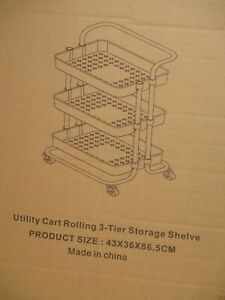 3 Tier Storage Cart Organizer Rolling White with Handle Mobile Utility Wheels