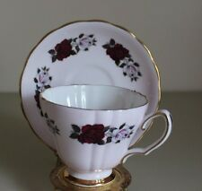 Colclough Tea Cup & Saucer, Pink w Purple/White Rose, Bone China, England