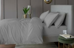 100% Cotton 200 Thread Count Bed Linen in Silver Grey Lyndon Company