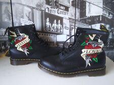 Dr. Martens Dagger Love Hate 8  eye punk Boot Leather black Men's US 14  EU 48