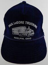 Vintage: Paul LaGore Trucking Hat, Adelphi, Ohio - Navy Blue, Corduroy, Youg An