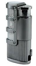 Gray Cigar Lighter Triple 3 Flame Refillable w/ Bullet Cutter The Supernova