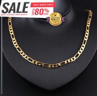 Goldkette Figarokette 60cm vergoldet lang 4MM Männer Damen Herren Hals kette G10
