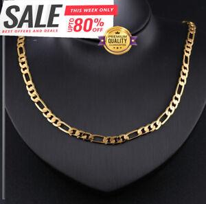 Goldkette Figarokette 50cm vergoldet lang 6MM Männer Damen Herren Halskette G10