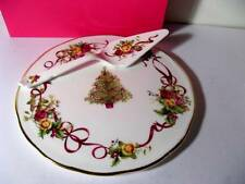 ROYAL ALBERT OLD COUNTRY ROSES Christmas Tree Cake Plate & Server  NIB