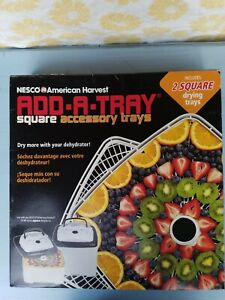 NESCO SQT-2, Add-a-Tray for Square Dehydrators FD-80 and FD80A, White, Set of 2
